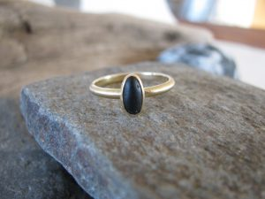 Rocks, Minerals, and Gemstones-18 Karat Gold Basalt Pebble Ring